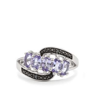 Tanzanite & Diamond Sterling Silver Ring ATGW 1.16cts