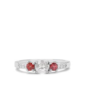Itinga Petalite, Rhodolite Garnet & White Zircon Sterling Silver Ring ATGW 0.74cts
