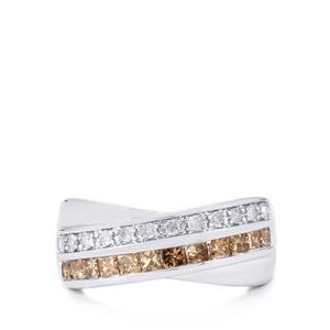 1ct Champagne & White Diamond 9K White Gold Tomas Rae Ring