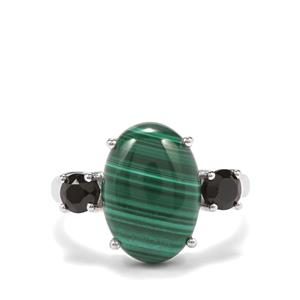 Malachite & Black Spinel Sterling Silver Ring ATGW 8.77cts