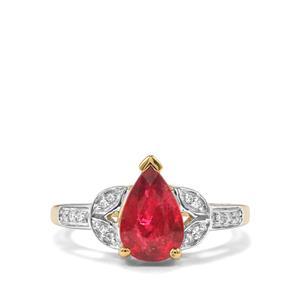 Nigerian Rubellite & Diamond 18K Gold Tomas Rae Ring MTGW 1.97cts