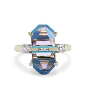 Lehrer Cosmic Obelisk Sleeping Beauty Turquoise, Rose De France Amethyst Ring with Diamond in 9K Gold 6.97cts