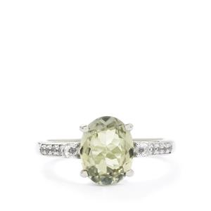 Kerala Sillimanite & White Topaz Sterling Silver Ring ATGW 2.78cts