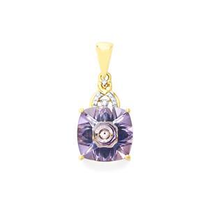 Lehrer KaleidosCut Rose Topaz, Ceylon Sapphire Pendant with Diamond in 9K Gold 7.07cts