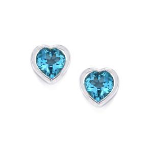 Swiss Blue Topaz Earrings in Sterling Silver 1.88cts