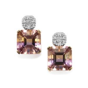 Anahi Ametrine Earrings with Diamond in 9K Gold 8.13cts