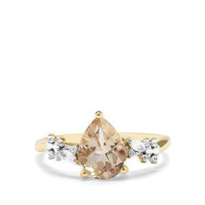 Serenite & White Zircon 9K Gold Ring ATGW 1.71cts
