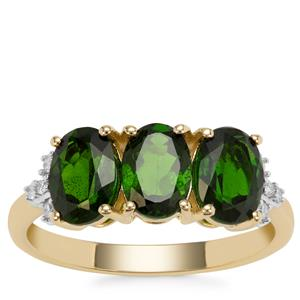 Chrome Diopside Ring with Diamond in 9K Gold 2.54cts