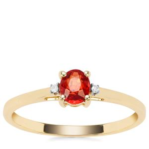 Songea Ruby Ring with Diamond in 9K Gold 0.49ct