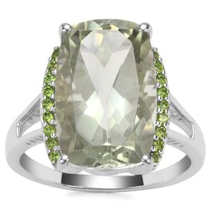 Prasiolite Ring with Chrome Diopside in Sterling Silver 7.55cts