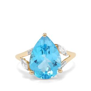 Swiss Blue Topaz Ring with White Zircon in 9K Gold 6.10cts