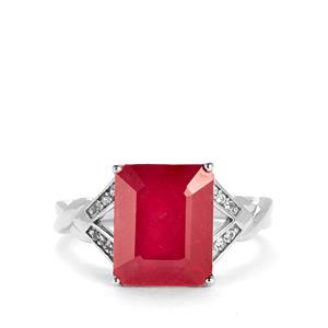 Malagasy Ruby & White Topaz Sterling Silver Ring ATGW 7.42cts
