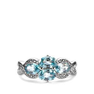 Ratanakiri Blue Zircon & White Topaz Sterling Silver Ring ATGW 3.04cts