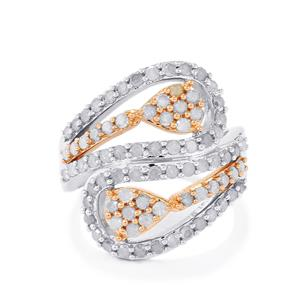 Diamond Ring in Two Tone Gold Plated Sterling Silver 1.50ct