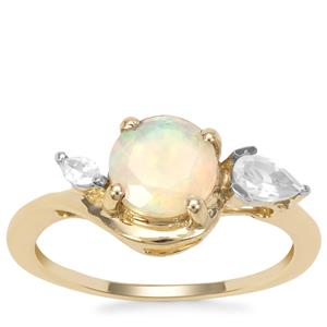 Kelayi Opal Ring with White Zircon in 9K Gold 1.16cts