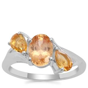 Imperial Garnet Ring with Diamantina Citrine in Sterling Silver 2.23cts