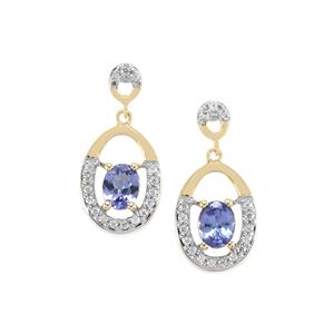 AA Tanzanite Earrings with White Zircon in 10K Gold 0.94ct