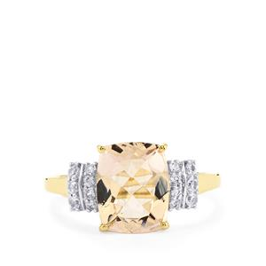 Mutala Morganite Ring with White Sapphire in 9K Gold 2.81cts
