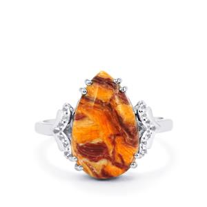 Lion's Paw Shell (16x10mm) & White Topaz Sterling Silver Ring