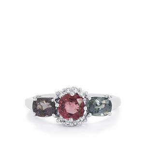 Burmese Multi-Colour Spinel & White Topaz Sterling Silver Ring ATGW 2.37cts