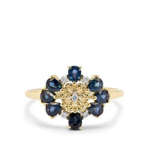 Natural Nigerian Blue Sapphire & White Zircon 9K Gold Ring ATGW 1.09cts