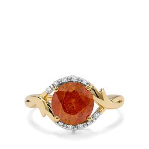 Aliva Sphalerite & Diamond 9K Gold Tomas Rae Ring ATGW 3.29cts
