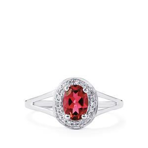 Pink Tourmaline & Diamond 14K White Gold Ring ATGW 0.86cts