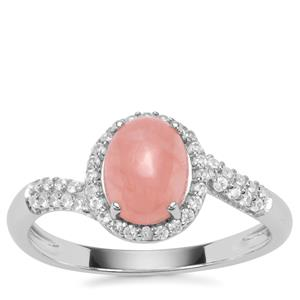 Rhodochrosite Ring with White Zircon in Sterling Silver 1.87cts