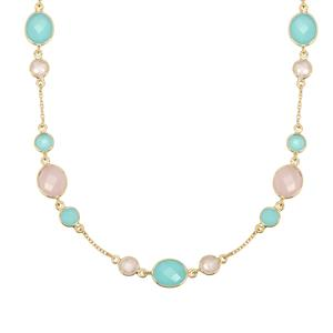 Aqua Chalcedony Necklace with Rose Quartz in Gold Plated Sterling Silver 24cts