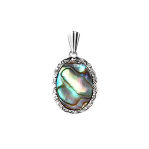 Paua Pendant in Sterling Silver (16x12mm)
