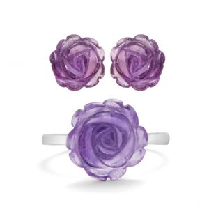 Purple Amethyst Set of Earrings & Ring in Rhodium Flash Sterling Silver 5cts