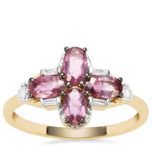Patiala Thai Ruby Ring with White Zircon in 9K Gold 1.35cts