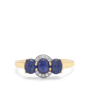 Burmese Blue Sapphire & White Zircon 9K Gold Ring ATGW 1.90cts