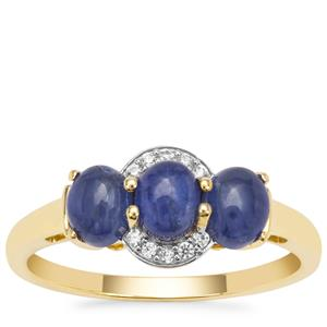 Burmese Blue Sapphire Ring with White Zircon in 9K Gold 1.90cts