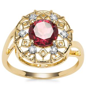 Mahenge Garnet Ring with Diamond in 9K Gold 1.72cts
