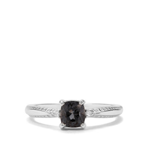 Mogok Silver Spinel & Diamond Sterling Silver Ring ATGW 1.02cts