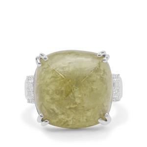 Grossular Ring with White Zircon in Sterling Silver 20.70cts