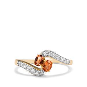 Idar Malaya Garnet Ring with White Zircon in 10k Gold 0.65cts