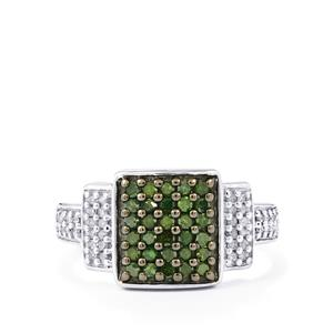 Green Diamond Ring with White Diamond in Sterling Silver 0.50ct