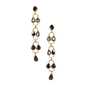Thai Sapphire Earrings in Gold Tone Sterling Silver 4cts