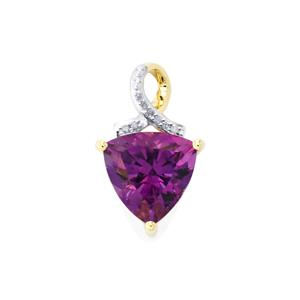 Moroccan Amethyst Pendant with Diamond in 9K Gold 2.96cts