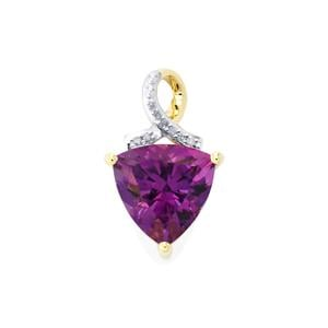 Moroccan Amethyst Pendant with Diamond in 10k Gold 2.96cts