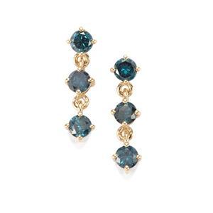 1ct Blue Diamond 10K Gold Earrings