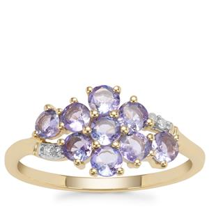 Tanzanite Ring with Diamond in 9K Gold 0.97ct