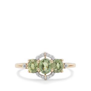 Ambanja Demantoid Garnet Ring with White Zircon in 9K Gold 1.25cts