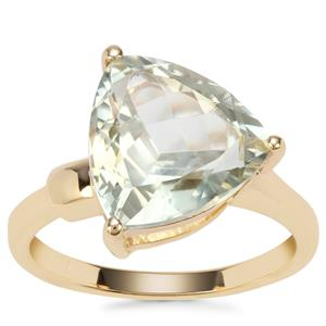 Prasiolite Ring in Gold Plated Sterling Silver 5.07cts
