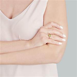 Changbai Peridot Ring with White Zircon in 9K Gold 2.39cts