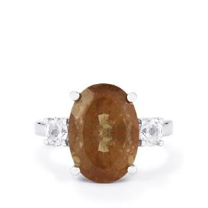 Guyang Sunstone Ring with White Topaz in Sterling Silver 6.37cts