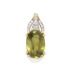 Ambilobe Sphene & Diamond 18K Gold Lorique Pendant MTGW 5.68cts