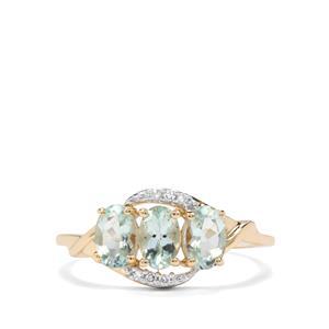 Aquaiba Beryl & Diamond 9K Gold Ring ATGW 1.25cts